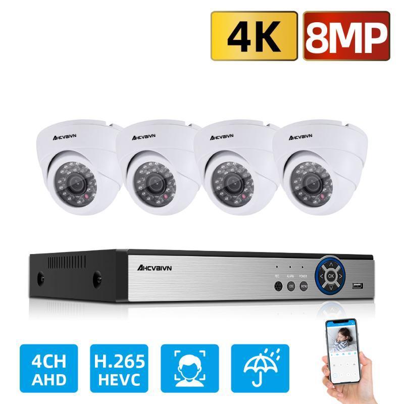 Kamera Sistemi Kiti HD 4 Kanal 4 K DVR 4 ADET 8.0MP Dome E-posta Alarm Güvenlik Gözetim Kitleri Sony Kablosuz