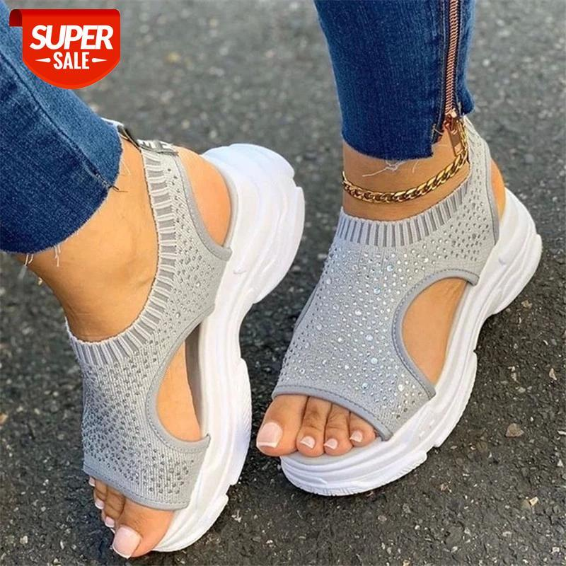 Mesh Platform sandals women Summer shoes Fashion Knitted Elastic Slip-On Rhinestone Hollow Breathable Sneakers #MZ2b