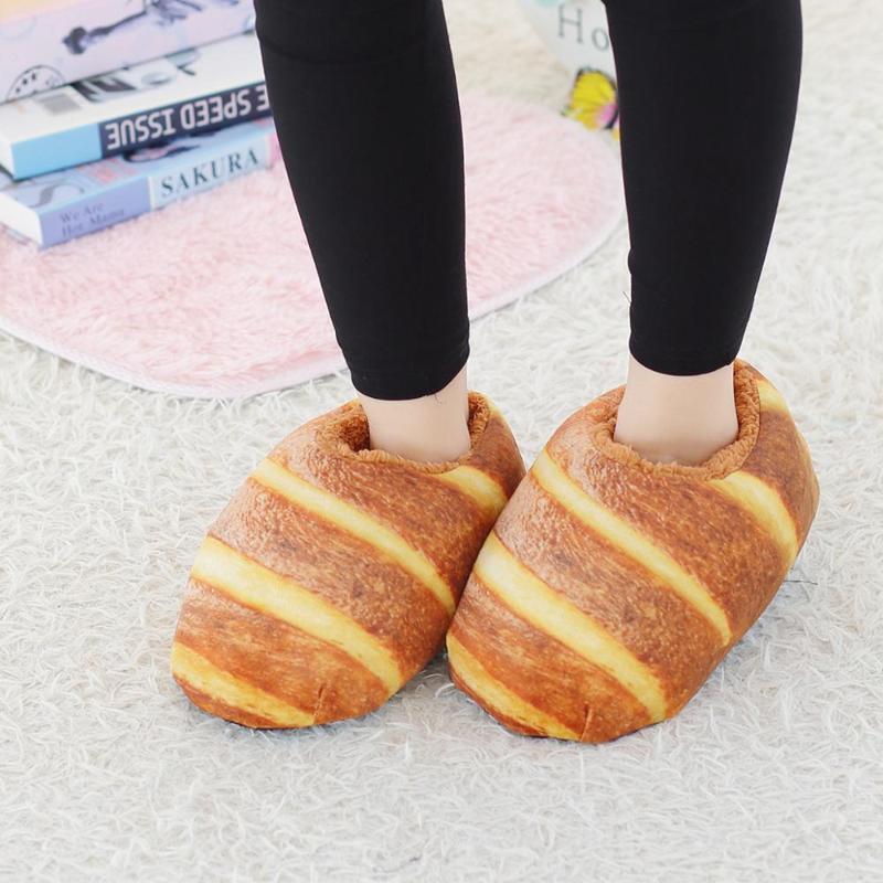 Una talla 36-40 Zapatillas de espuma masculina Pan Toast Toast Imprimir Zapatillas de algodón de invierno Zapatos de algodón Mujer Casa cálida Guerra de felpa Mujeres