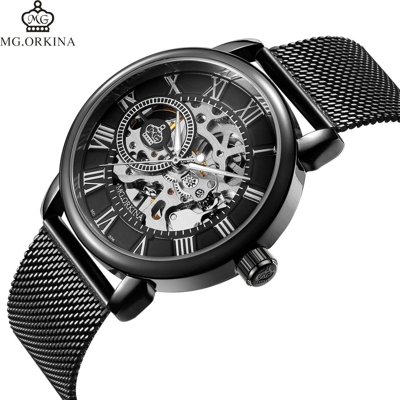 Relojes de pulsera Ojina Orkina Manual Mecánico de malla tejida Hallow Hollow a través del Vaj9