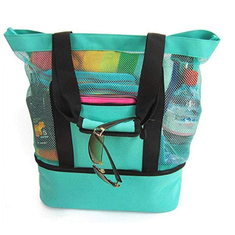 أكياس تخزين المحمولة الحرارية العزل شاطئ حقيبة يد مزدوجة طبقات حمل غذاء الغذاء حقيبة السفر شبكة كبيرة