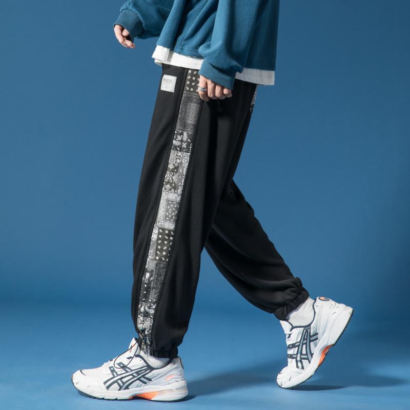 인쇄 된 스 플라이 싱 스트리트웨어 한국어 하렘 바지 남자 패션 캐주얼 Drawstring 스웨트 커플 커플 커플 대형 바닥 바지 남자