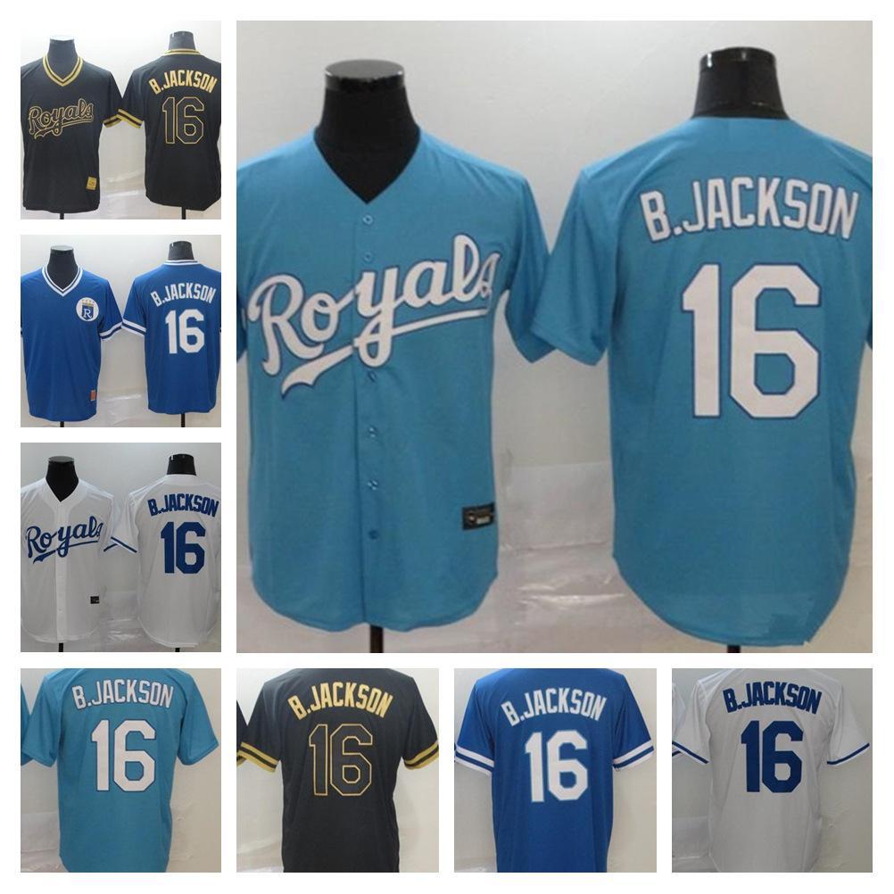 2021 Royals Jersey # 16 Bo Jackson 홈 블루 화이트 회색 남성 여성 키즈 야구 유니폼