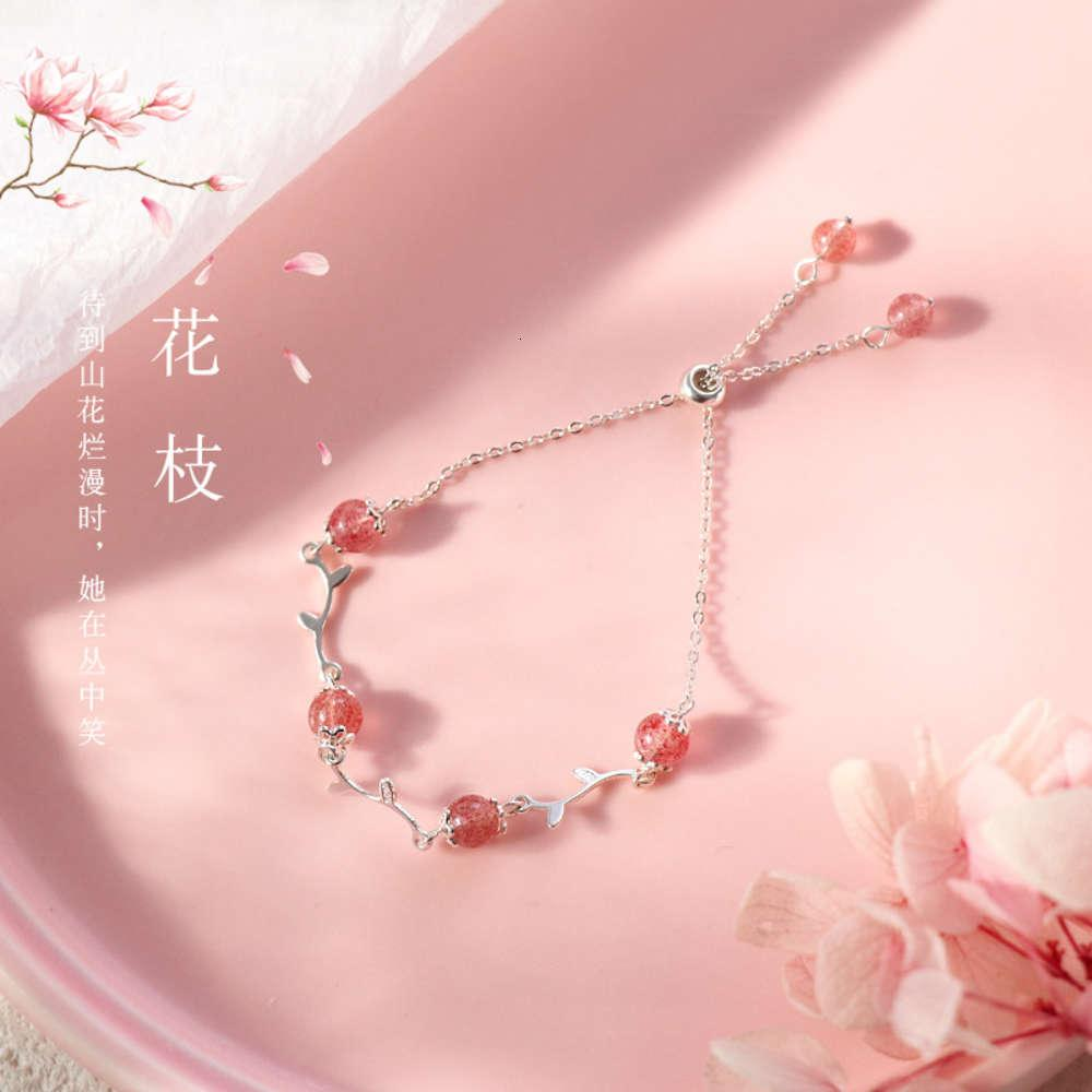 Link925 Sterling Silver Flower Filial Morango Cristal Pulseira Mori série Pêssego Blossom Pink Girl's Minority Hand