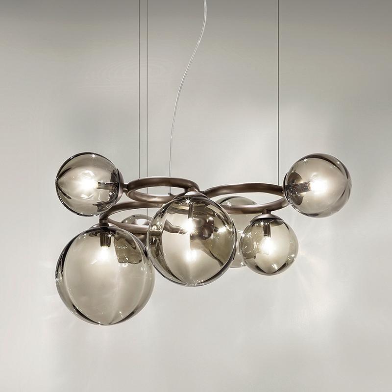 ArtPad Nordic Chandelier Lâmpada de Lâmpada de Glass Bolha Lampshade Modern para jantar Loja de sala de estar Pendurado iluminação G9 LED Bulbo