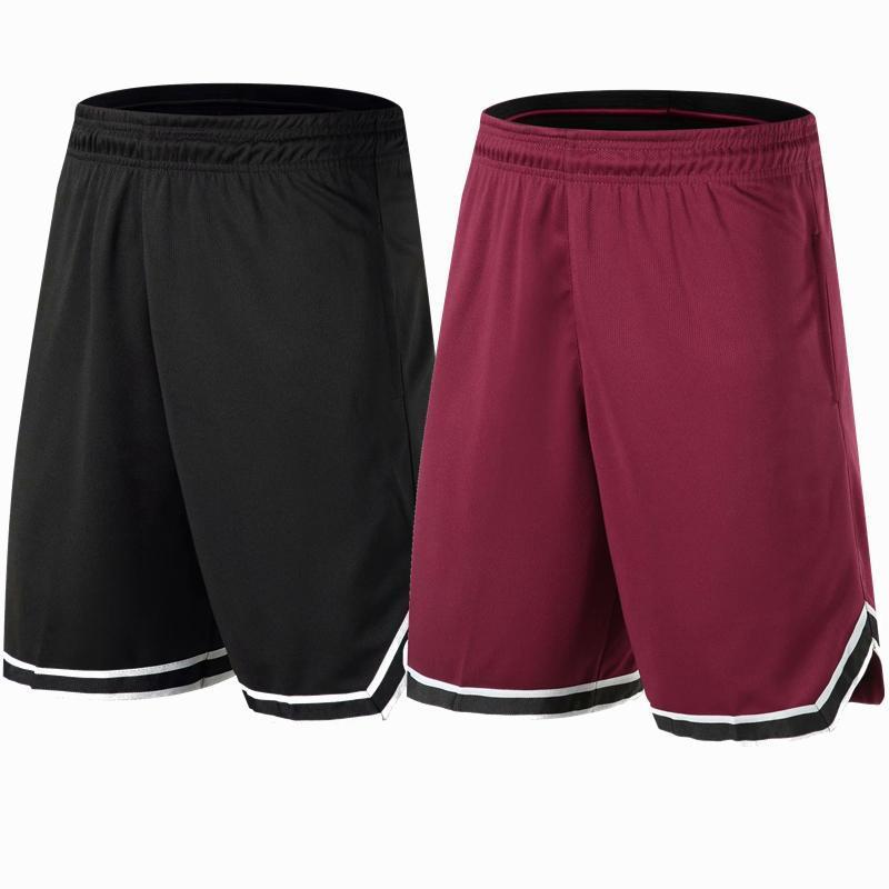 Shorts de basquete respirável suor sport executando esportes ao ar livre fitness calça curta solta praia preta / vermelha