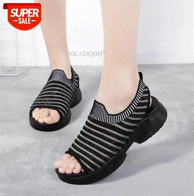 Fashion 2021 Sneakers Femmes Sandals plats plates de la plate-forme plate-forme Femmes Coins ouverts Toe Toe Chaussures de plage plus Taille 35-42 Zapato # Mi2S
