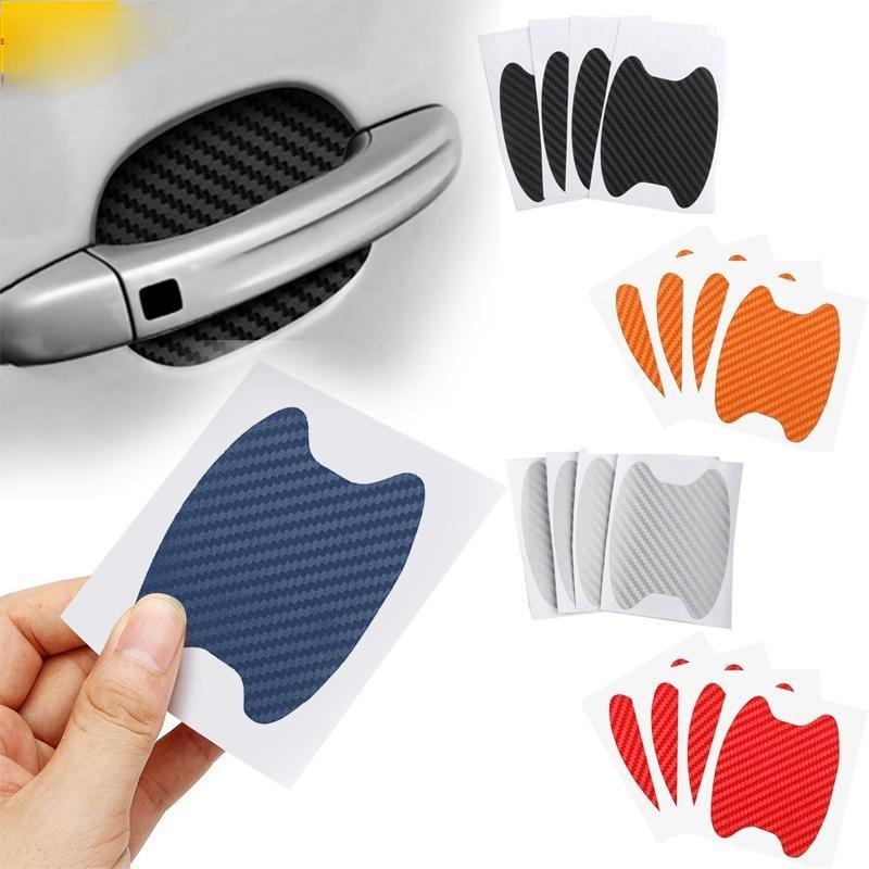 4pcs / 세트 자동차 도어 스티커 데칼 탄소 섬유 스크래치 방지 커버 자동 핸들 보호 필름 외관 스타일 액세서리 QC540
