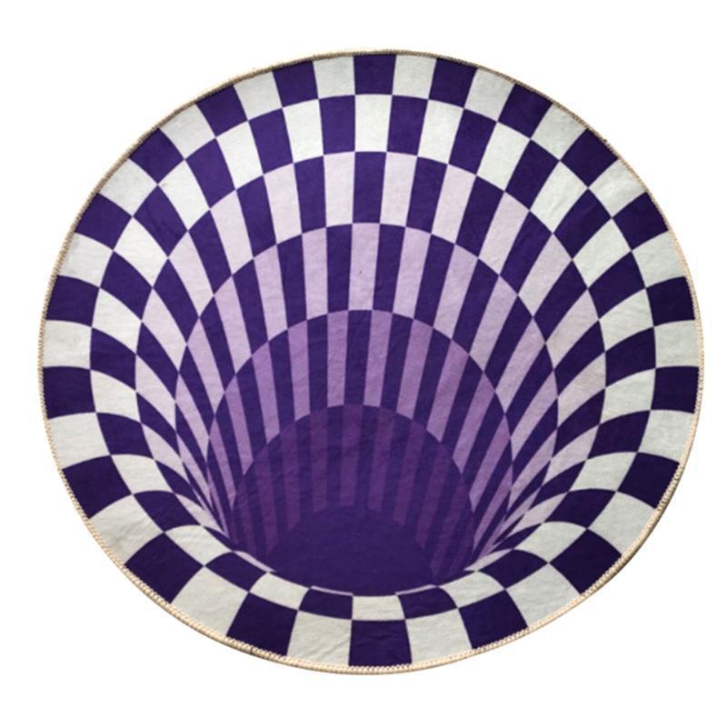 Tapis 2021 3D lavable imprimé rond vortex illusion motif anti-slip tapis tapis ménage
