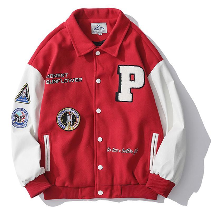 Men's Jackets Streetwear Baseball Jacket Coat Patchwork College Varsity Hip Hop Letter P Embroidery Bomber Korean Japanese Punk