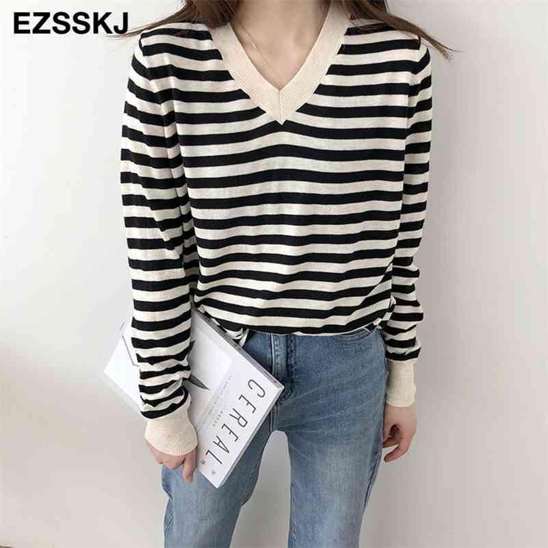 Casual com decote em v Spring Spring Outono Fino Sweater Striped Mulheres Soft Solto Chique Camisola Pullovers Menina Jumper Top 210427