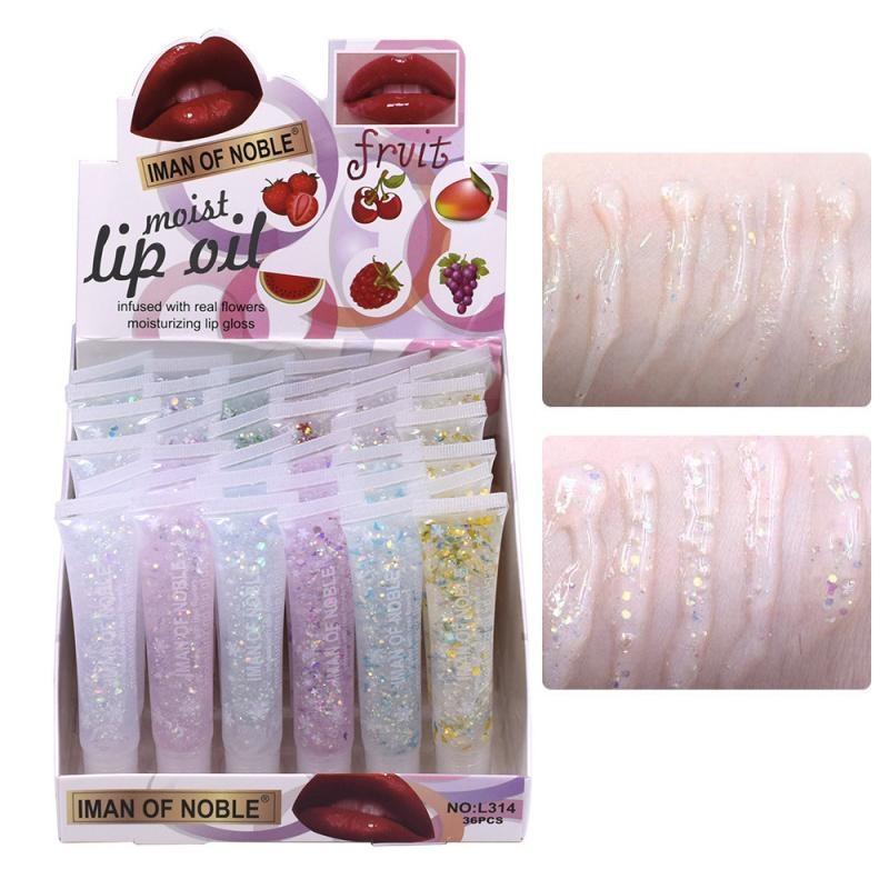 36pcs / lot paillettes brillantes hydratantes lèvre glosses cristal gelée lèvres lèvres liquide vitamine e huile anti-craquelure