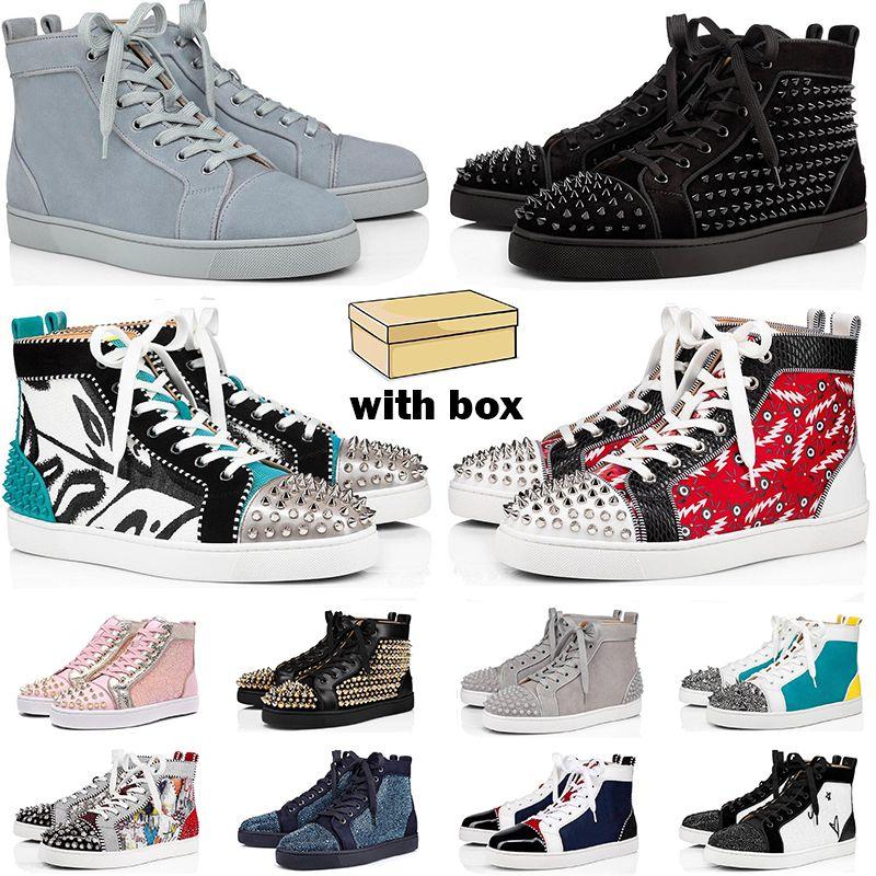 2021 bottoms rossi sneakers uomo donna scarpe high top nero bianco blu glitter grigio pelle scamosciata rosa pelle scamosciata moda uomo scarpe da ginnastica casual