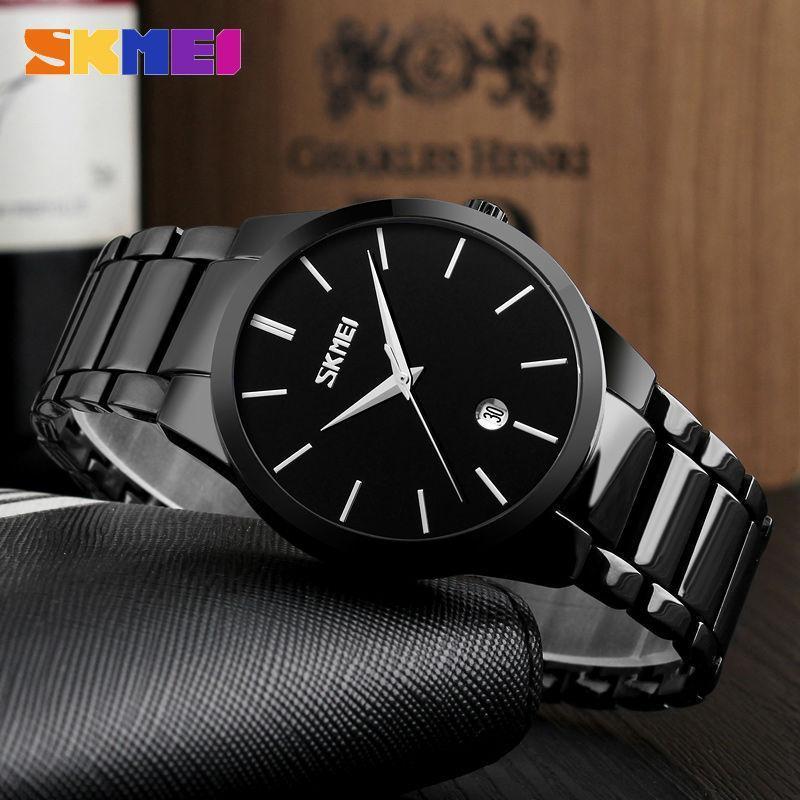 Marka Basit Erkekler Kuvars Saatı Su Geçirmez Moda Komple Takvim Saatler Spor Saatler 9140 Relogio Masculino