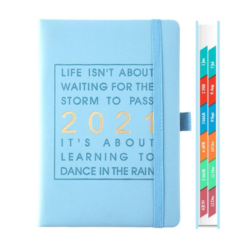 Agenda 2021 Jan-dec 영어 노트북 A5 가죽 소프트 커버 스쿨 플래너 효율 저널 메모장