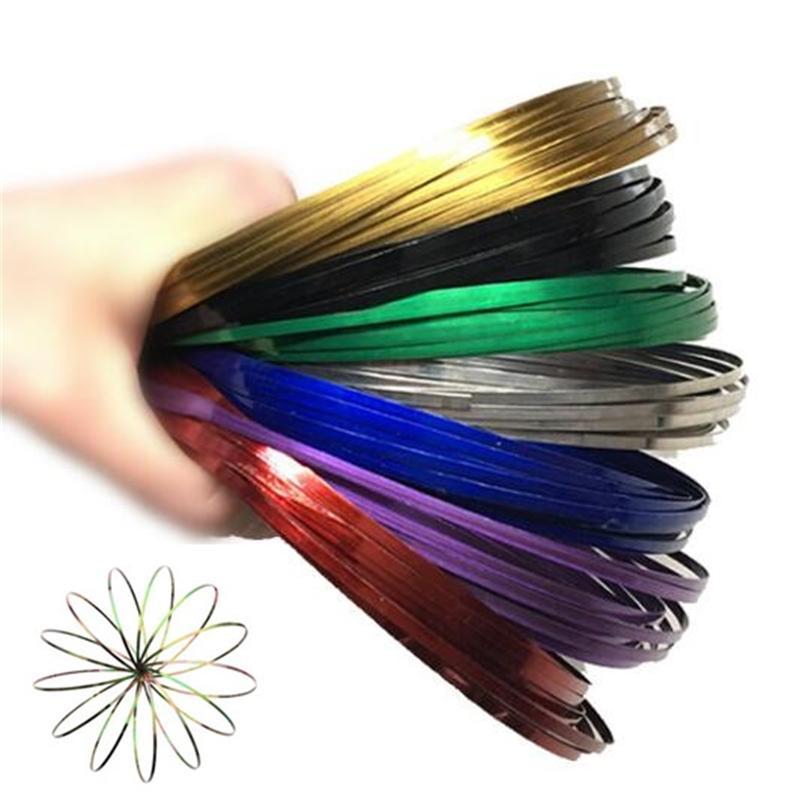 9 colores de flujo juguetes brazo anillos de juguete cinético primavera pulsera ciencia educativa sensorial interactivo fresco CCA9279-A 200pcs