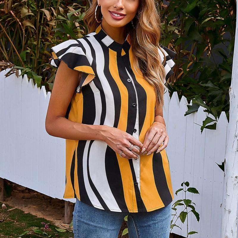 Mulheres Blusas Camisas Verão Mulheres Listrado Impressão Moda Ruffles Sem Mangas O-Pescoço Tops Escritório Senhoras Blusa