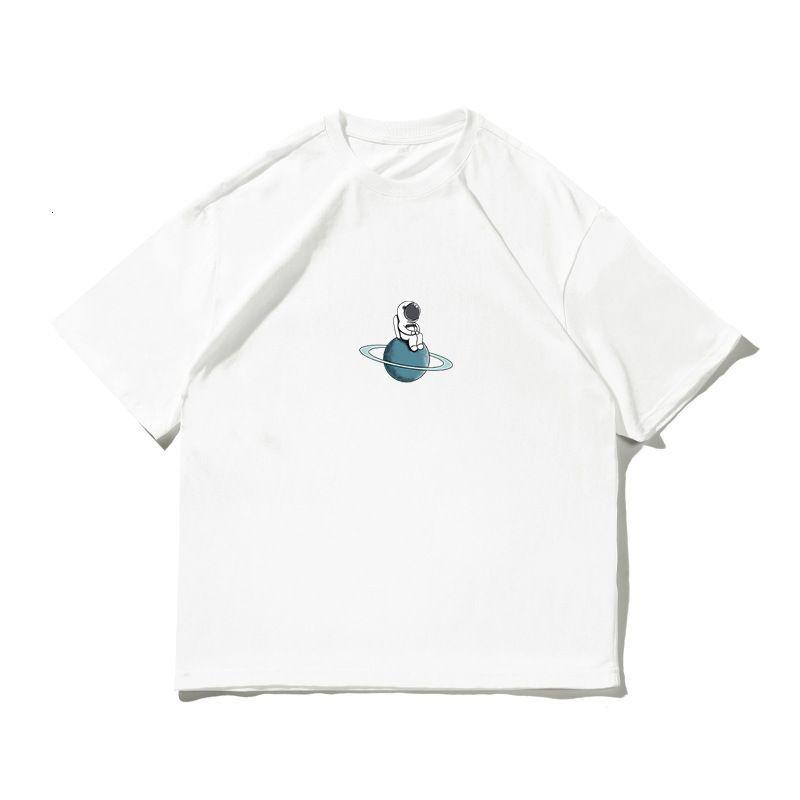 Zues Fashion @ Street BF Astronauta Cuello redondo de algodón suelto y gordo de manga corta de verano camiseta
