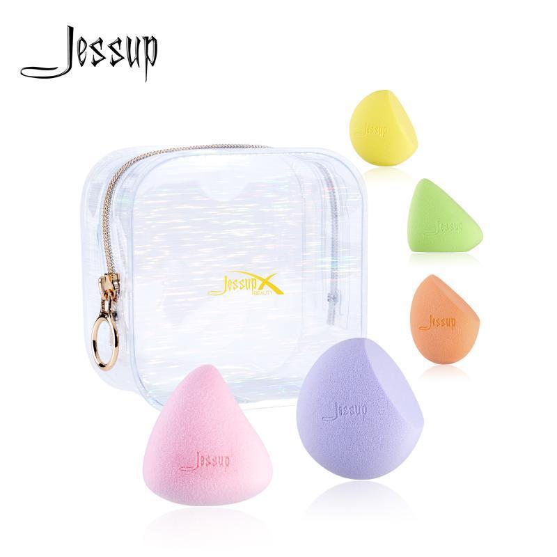 Jessup Maquillage Sponges Set Cosmétics Poudre Cosmetics Fondation Soft Fonds Soft Mélanger des bouffées d'éponge avec sac de beauté Kit de beauté Sponges, Applic