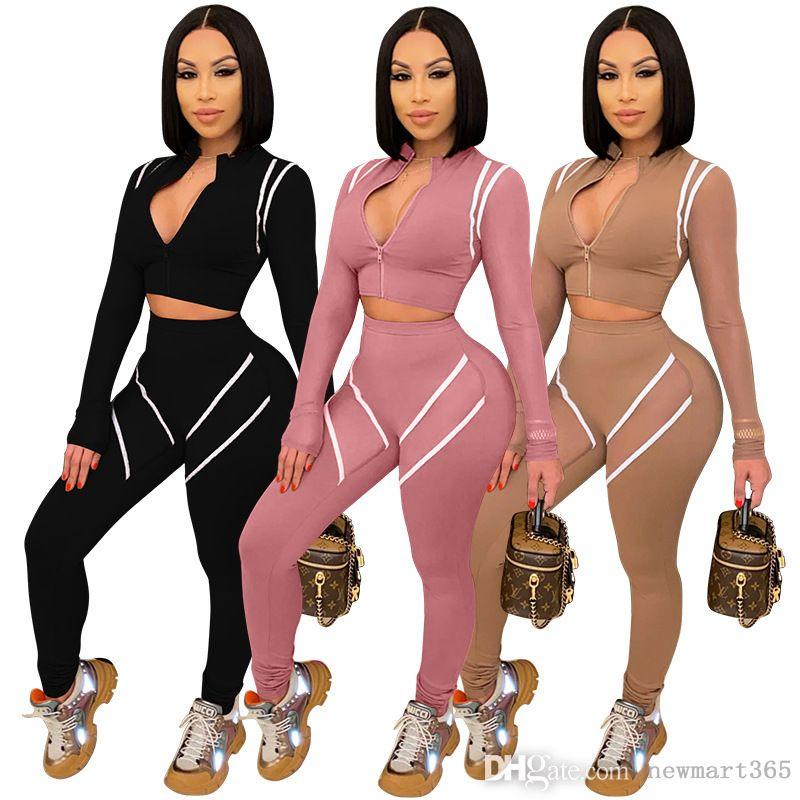 Tasarımcı Kadın Tracksuitstwo Parça Set Dikişli Mesh Kollu Bahar Yeni Çok Panel Kontrast Spor Giysiler