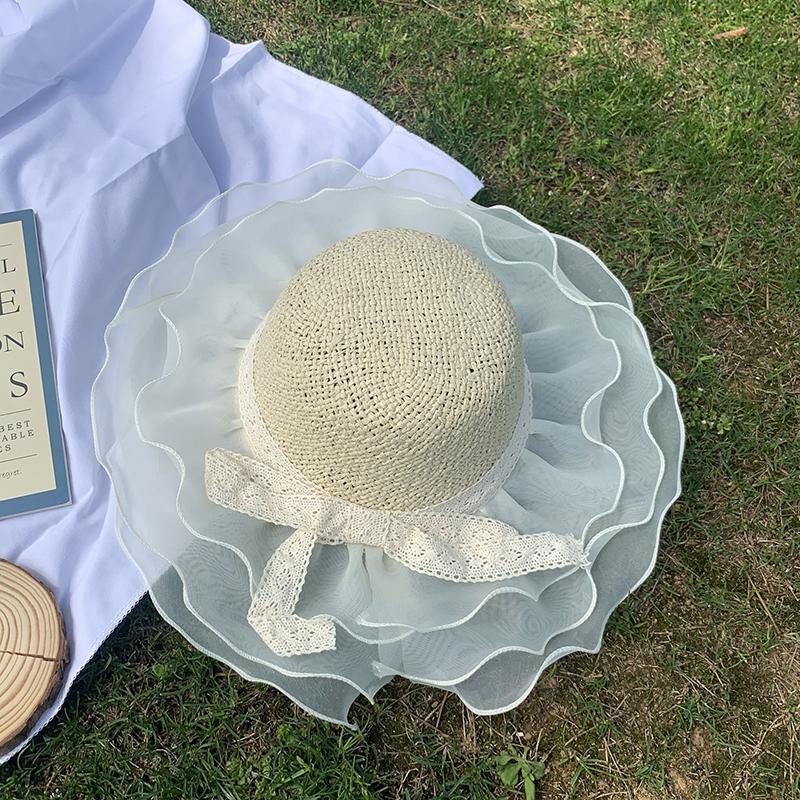 어린이 여름 밀짚 모자 레이스 bowknot 여자 어부 모자 organza 외출 양산 통기성 해변 태양 모자 모자