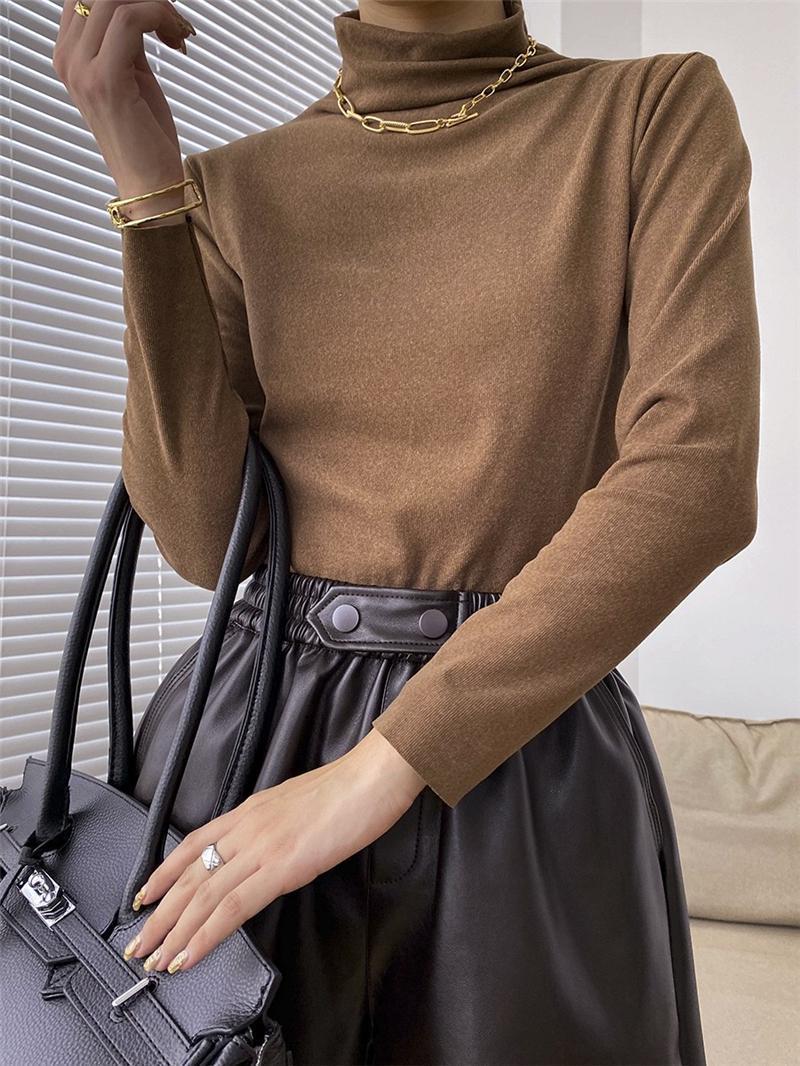 Женщины вязаные ребристые тонкие водолазки Основные дна рубашки с длинным рукавом Пуловер Tops Femme Супер экономически эффективные женские свитера