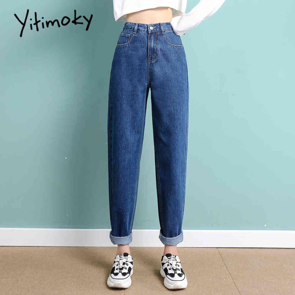 Джинсы Yitimoky высокая талия женщина прямо небо голубые джинсовые брюки плюс размер эластичный промытый повседневная винтажная уличная одежда мама женщин