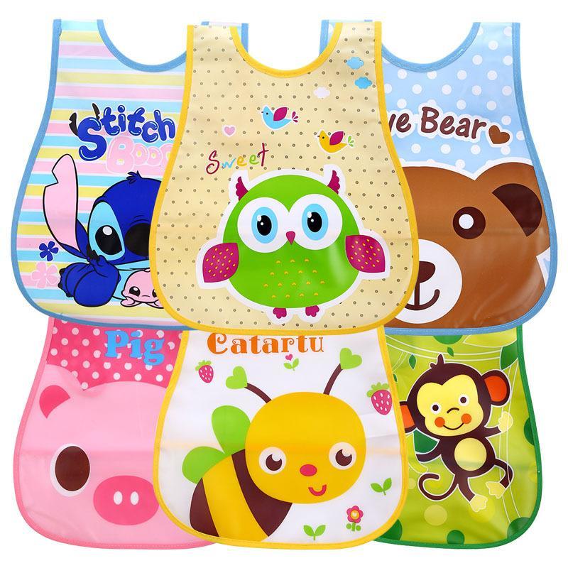 Einstellbare Baby Lätzchen EVA Kunststoff Wasserdichte Mittagessen Fütterung Lätzchen Baby Cartoon Fütterung Tuch Kinder Baby Schürze Babador de Bebe 2342 Q2