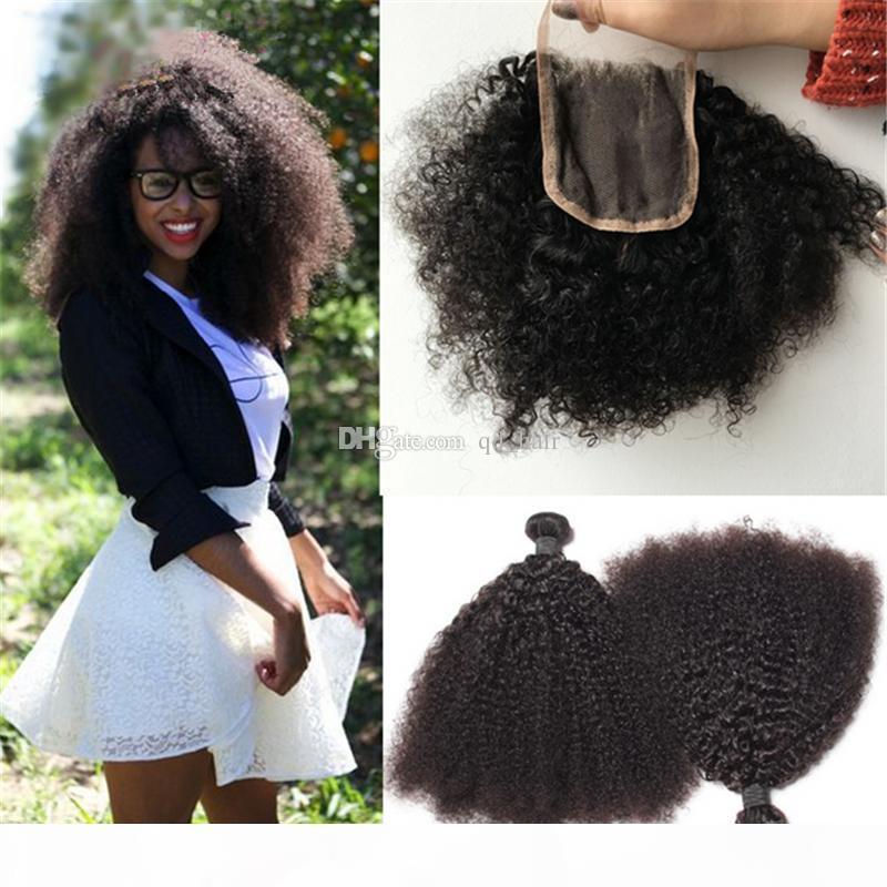 Moğol 9A Afro Kinky Kıvırcık İnsan Saç Dantel Kapatma Ile Örgüler Dantel Kıvrım Kıvırcık Dantel Kapatma Siyah Kadın için Saç Uzantıları