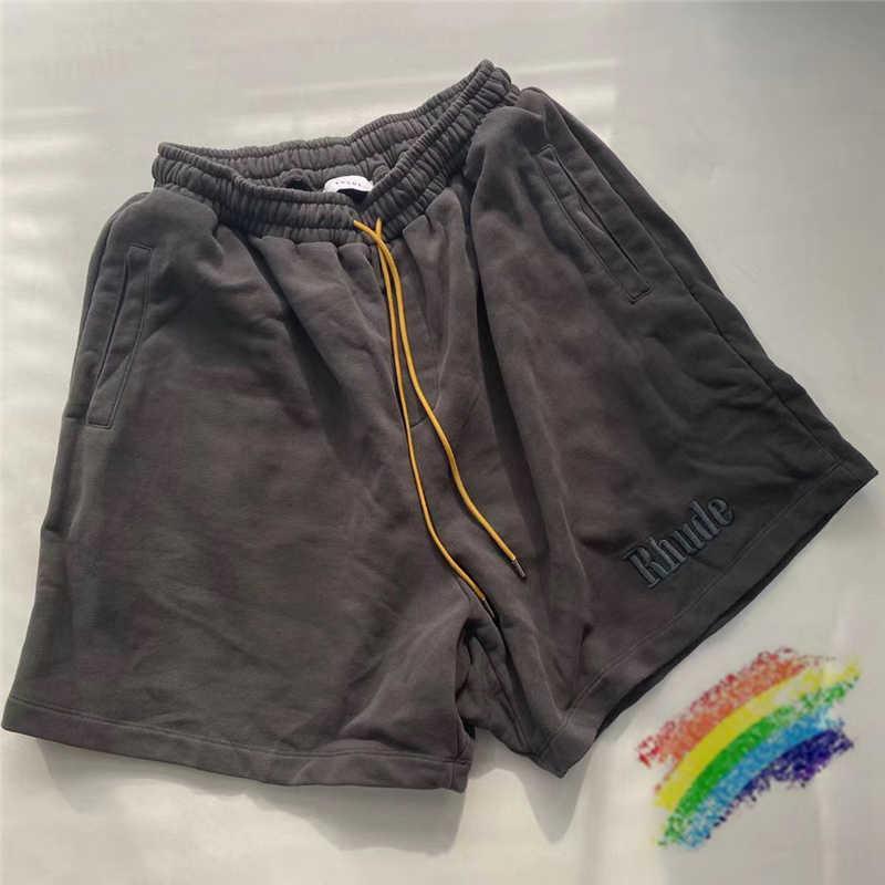 Nakış Rhude Şort Erkek Kadın 1: 1 Yüksek Kalite Vintage Rhude Şort Sarı İpli Içinde Etiket Etiket Pantolon X0601