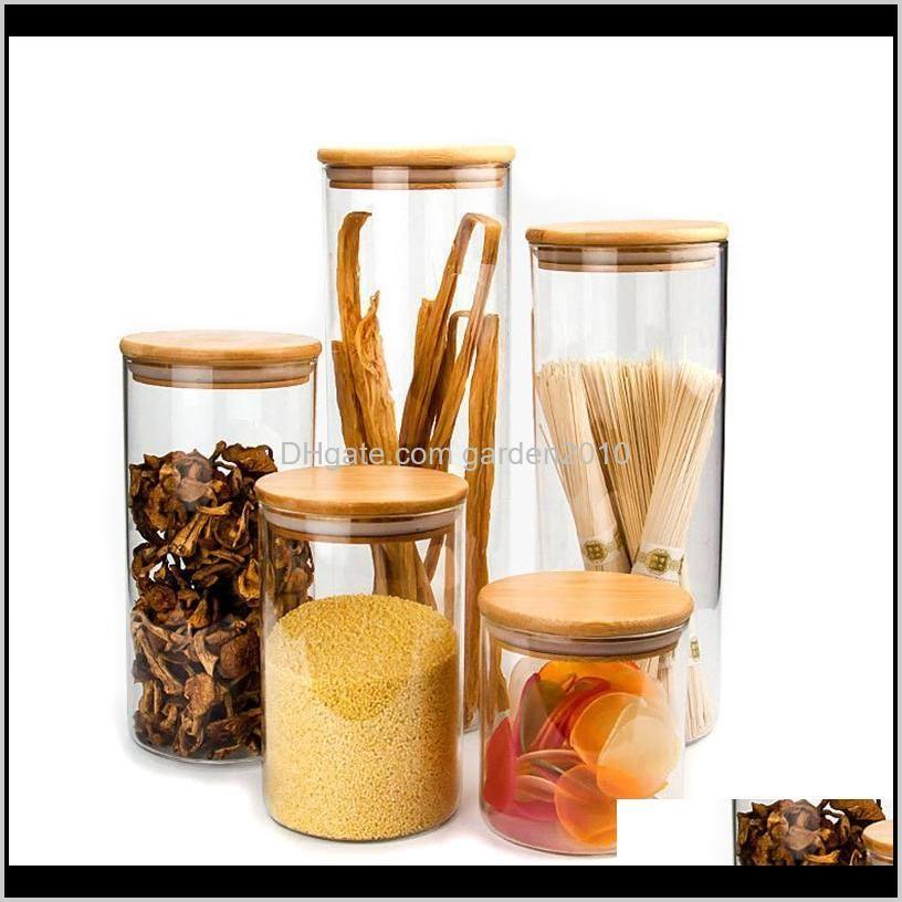 Прозрачные канистры для хранения пробки покрывают банки для песчаных жидких пищевых продуктов Ecofriendly стеклянные бутылки с бамбуковой крышкой 58LWN JQ8J2