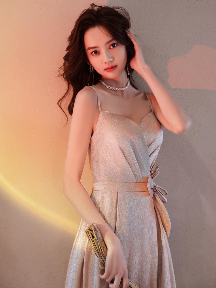 로맨틱 스파게티 스트랩 라인 공식 이브닝 드레스 클래식 Strapless Bowknot 허리 댄스 파티 가운 드레스 수집
