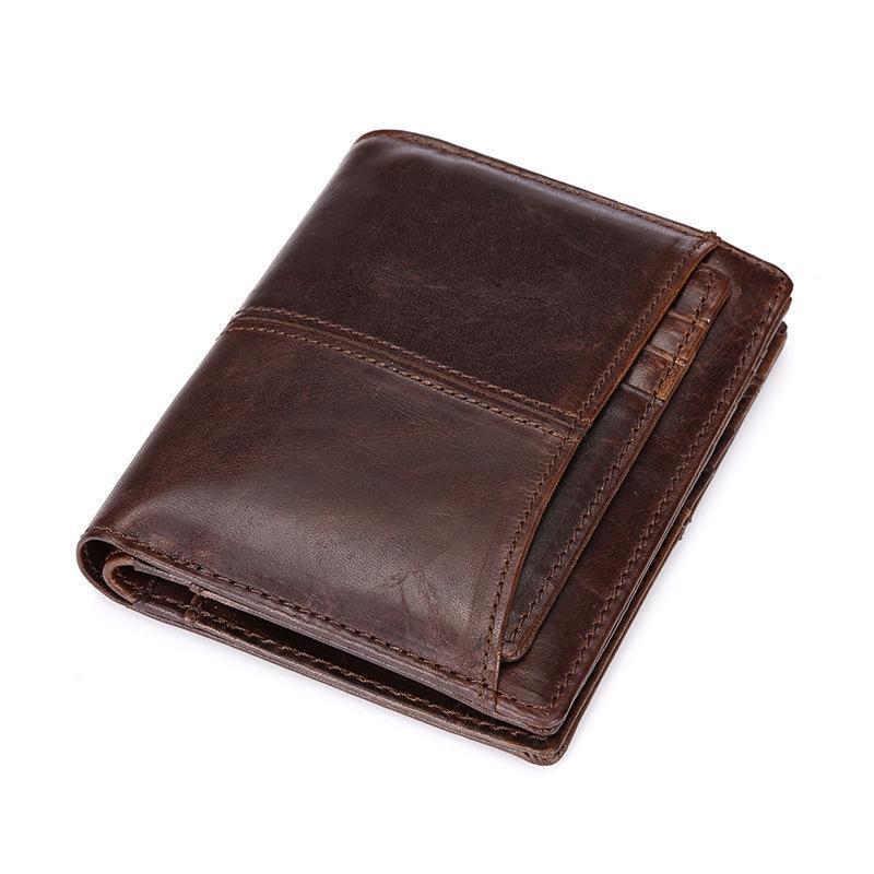 Carteras de cuero genuino de los hombres que restauran formas antiguas es breve bolsas de cera de aceite del párrafo