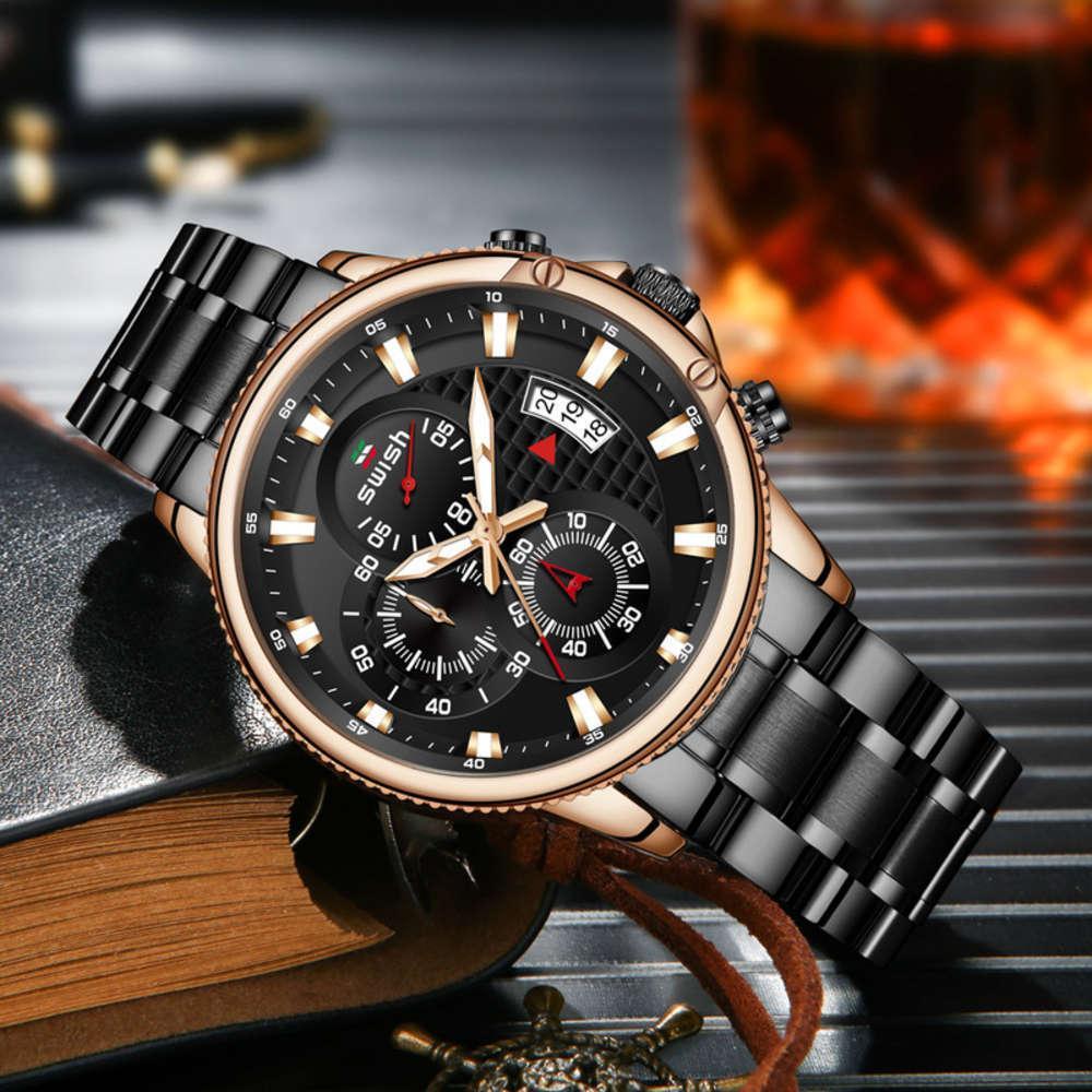 Piccolo orologio in acciaio Tre Banda per ago Business Business Business Moda per uomo Luminoso al quarzo luminoso MZWE