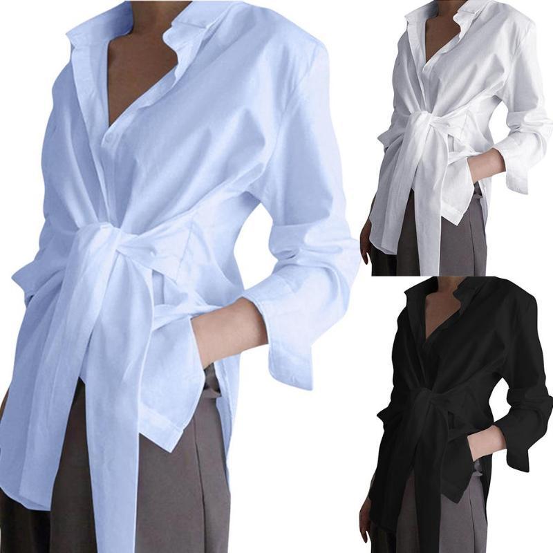 Donne Casual Color Solid Color Doppia Giù Collo Vita Allacciata Abbastanza Camicia Blusa Camicetta da donna Camicie da donna