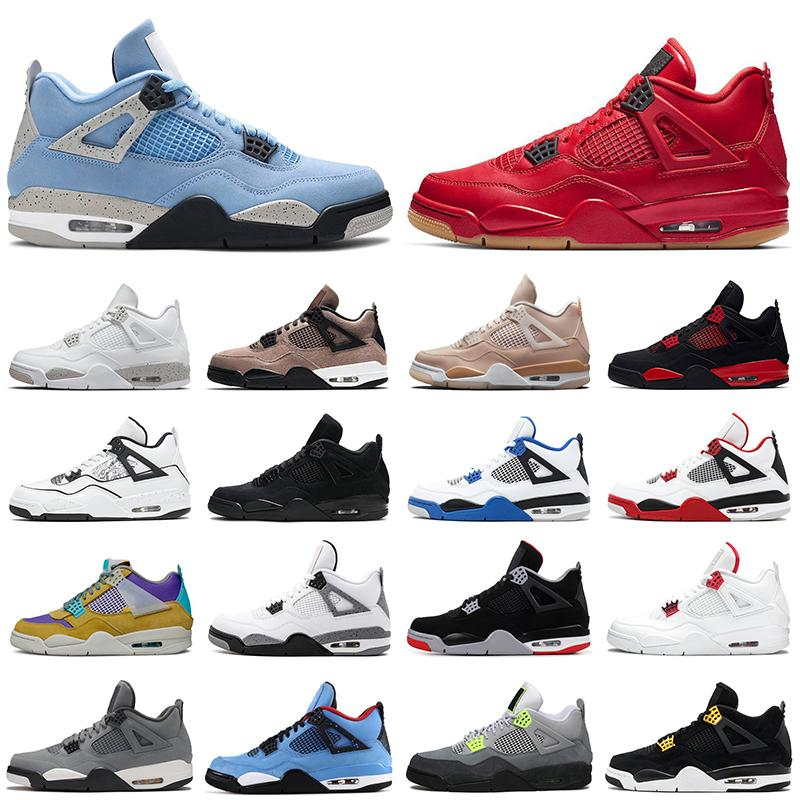 Retro Air Jordan 4S AJ4 Zapatos de baloncesto 4 DIY Shimmer White Oreo University Blue Taupe Haze Black Cat Metallic Pack Cemento Mujeres para mujer Deportes zapatillas deportivas