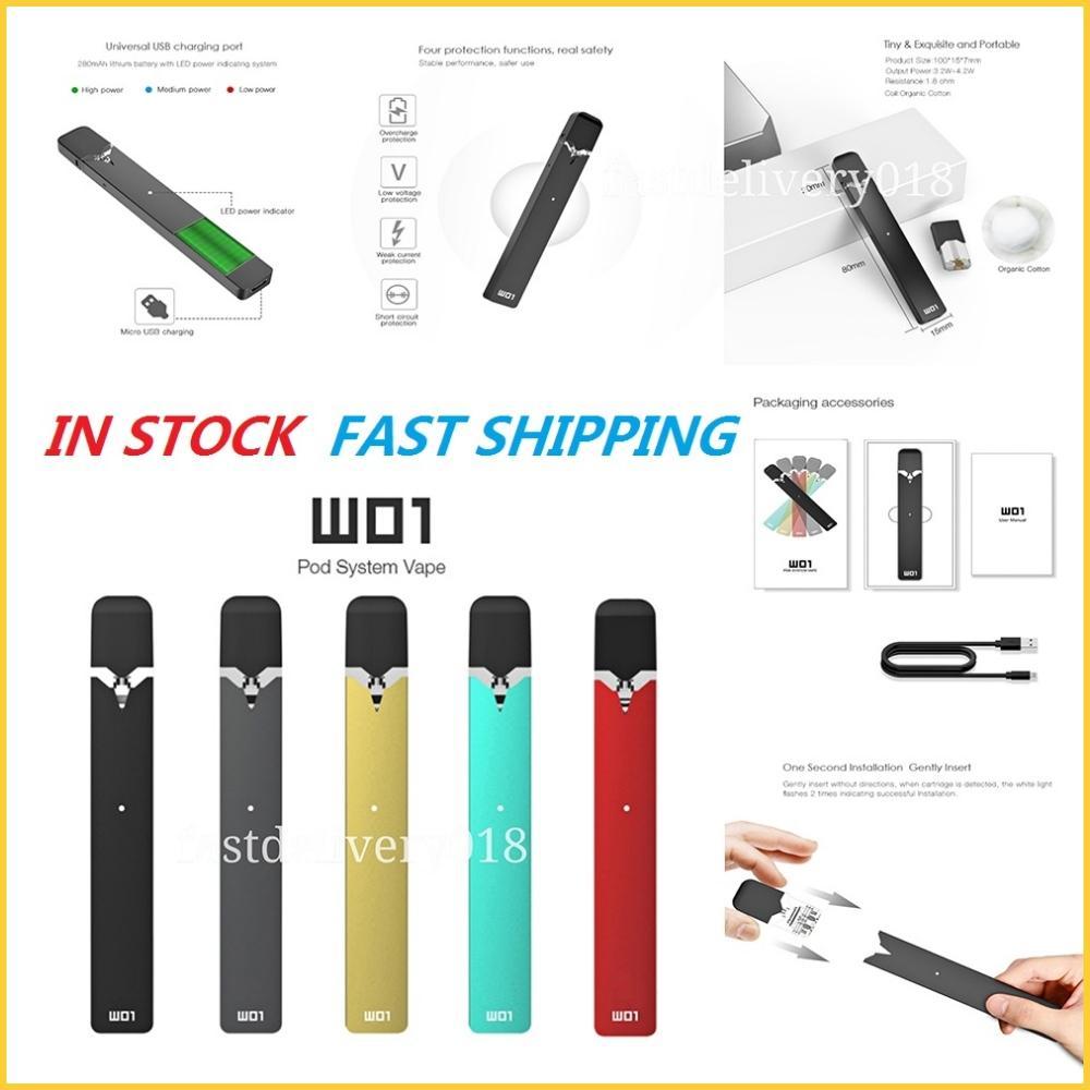 OVNS W01 Kit E Cigarette Pod Stater Kits 280mAh Vape Pen With 0.7ml Organic Cotton Coil Pods Cartridge Vapes