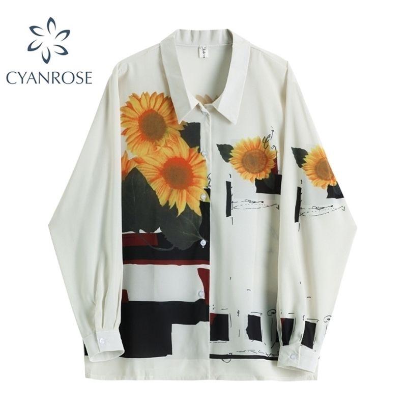 Elegante camicetta vintage donna manica lunga allentata casual primavera autunno autunno casual girasole stampa cardigan camicia femminile top 210515