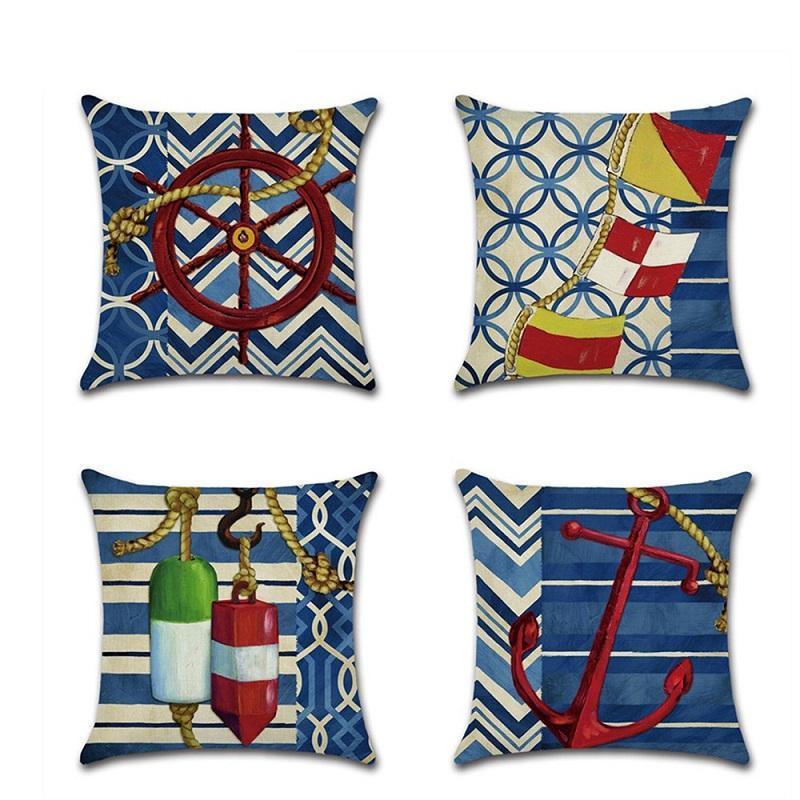 Cushion/Decorative Pillow 45*45cm Cushion Cover Blue Anchor Nautical Marine Style Linen/Cotton Case Home Decorative Pillows For Sofa Car
