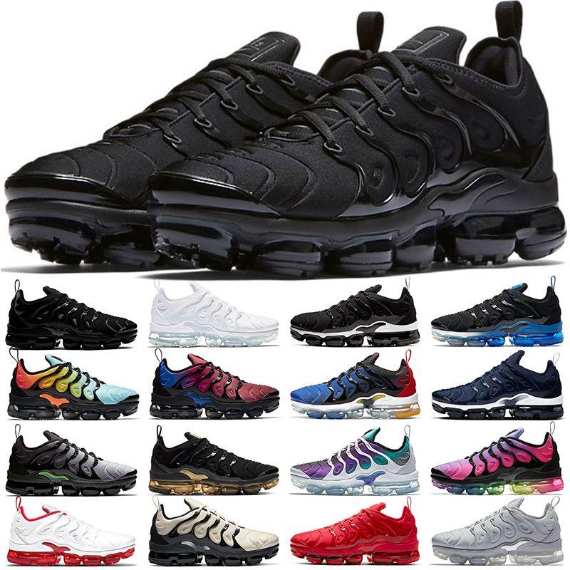 كبيرة مقاسات Nike air max tn plus زائد الرجال النساء الاحذية Chaussures الثلاثي أبيض أسود الذهب العنب فرط الأزرق أورانج رجل احذية رياضية وفاز بالمركز الثاني 36-47