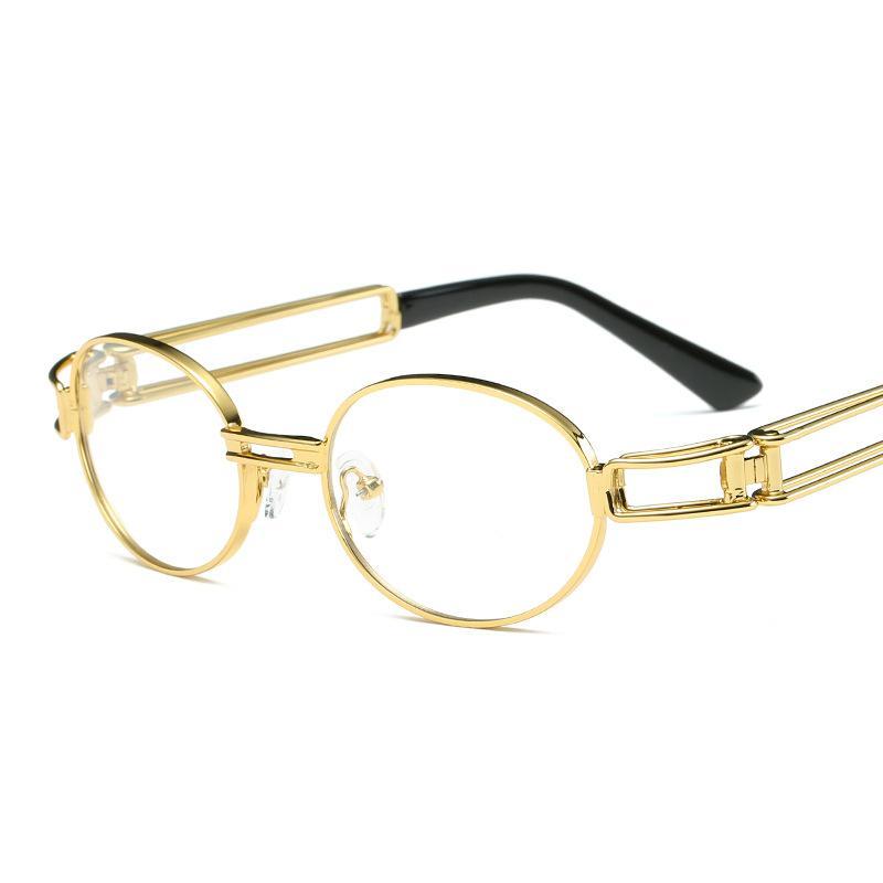Teampunk gafas de sol góticas planas top gafas redondas retro hombres y mujeres de lujo diseñador de marca de lujo vidrios de lentes transparentes UV400
