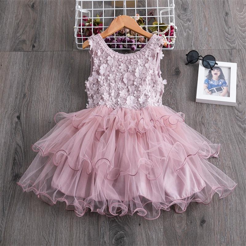 Ins Sommer Kleinkind Mädchen Spitze Kuchen Kleid Kinder Sleeveless Floral Mesh Brautkleider Kinder Kleidung Für Baby Mädchen 3 bis 8 Jahre 386 Y2