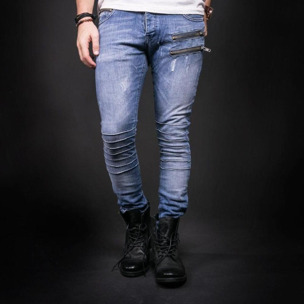 Knee Pleated Mens Ripped Jeans Pants Slim Fit Light Blue Denim Joggers Male Distressed CTrousers zipper decoration men Pants 3XL