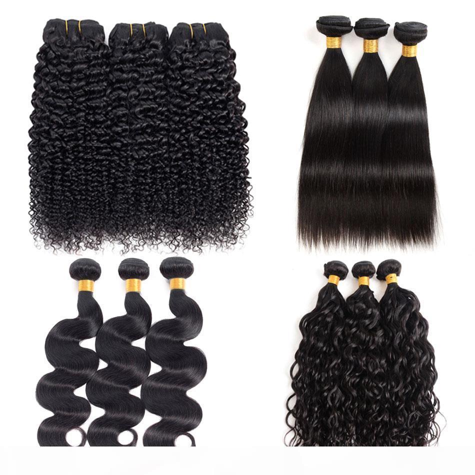 Brésilien Kinky Cheveux Humains Curly 8a Péruvien Malaisien Vierge Vierge Vague Vague Straight Water Wave De Deep Wave Bonds Couleur naturelle