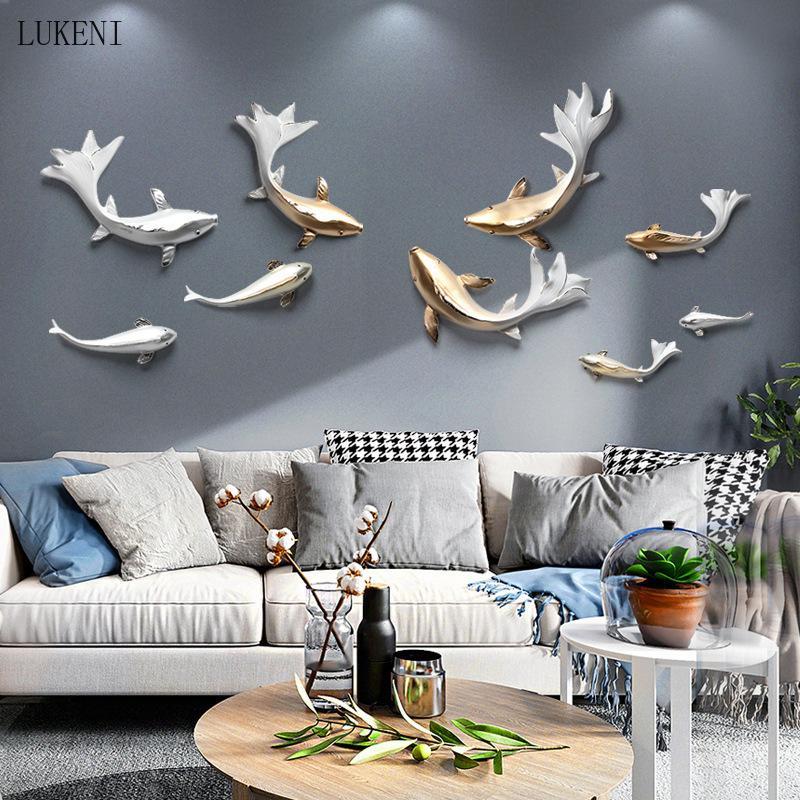 Licht Luxus Wohnzimmer Wanddekoration Hängen 3D Dreidimensionale Fische Hängende Dekoration Neue chinesische Fernseher Hintergrund