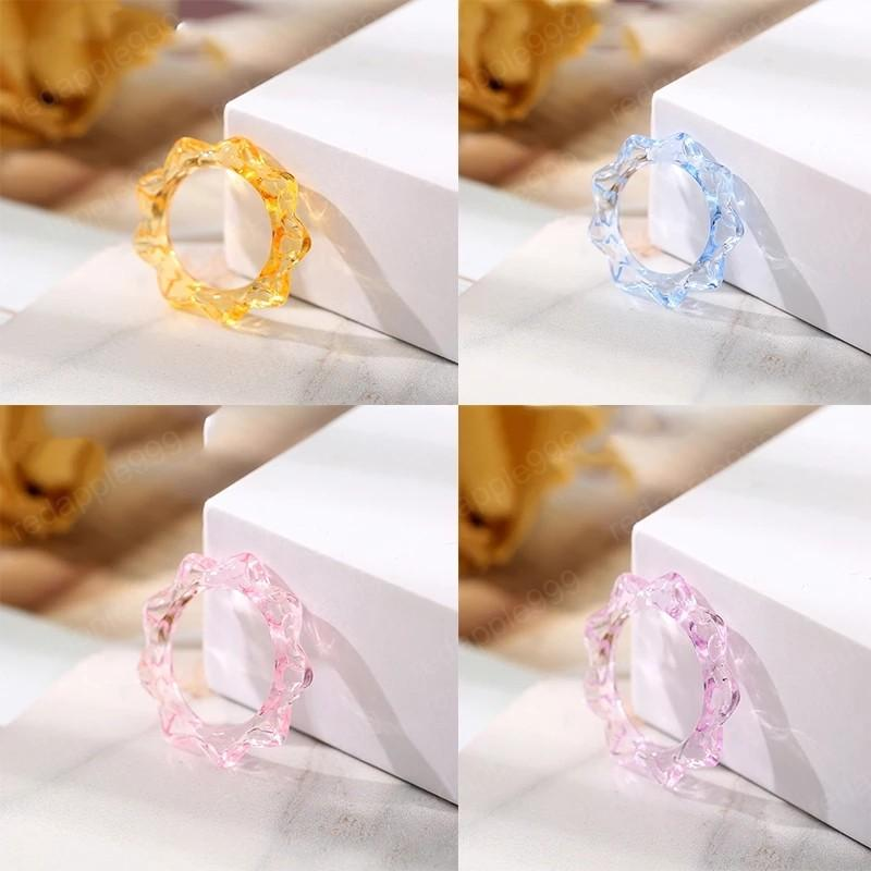Korea Style Simple Sweet Candy Color Acrylic Resin Ring Irregular Geometric Rings for Women