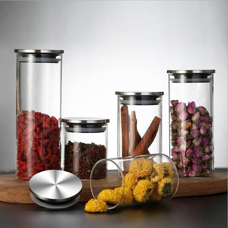250/300/350/450ml Recipiente de vidrio de vidrio Jarras de almacenamiento de frascos de la cocina para galletas de caramelo Harina de azúcar con tapa de plata Botellas