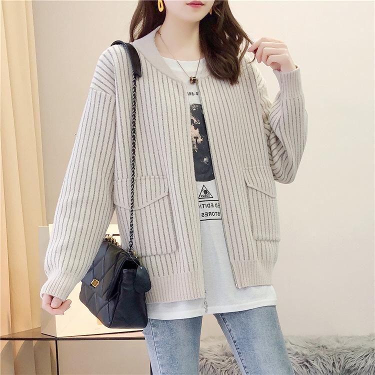 Короткий бейсбол свитер кардиган куртка женская осень зима 2021 новая корейская свободная полоса моды молнии