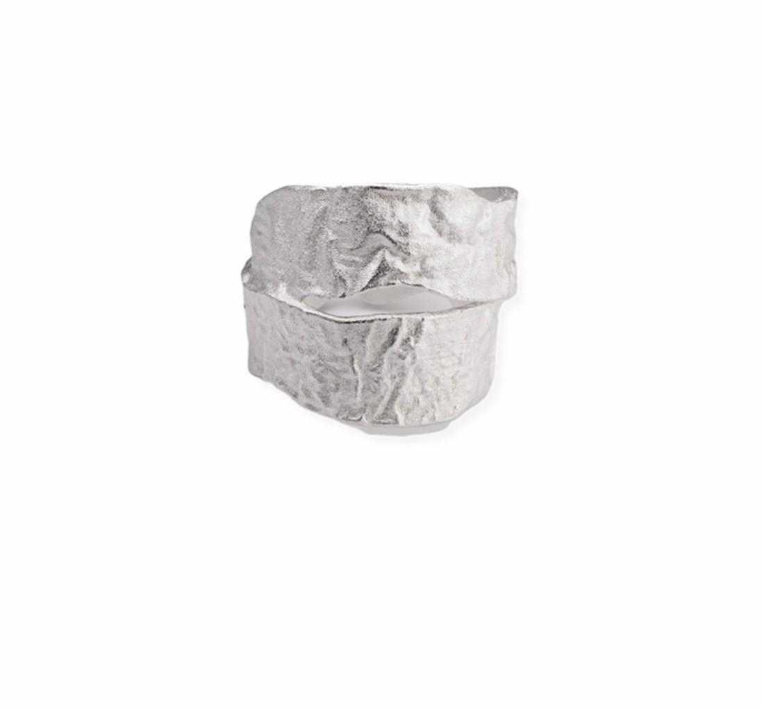 Original Design Retro Old Ring Hand Hammer Tin Foil Pattern Simple Personality 925 Silver Opening Adjustable All-Match Jewelry
