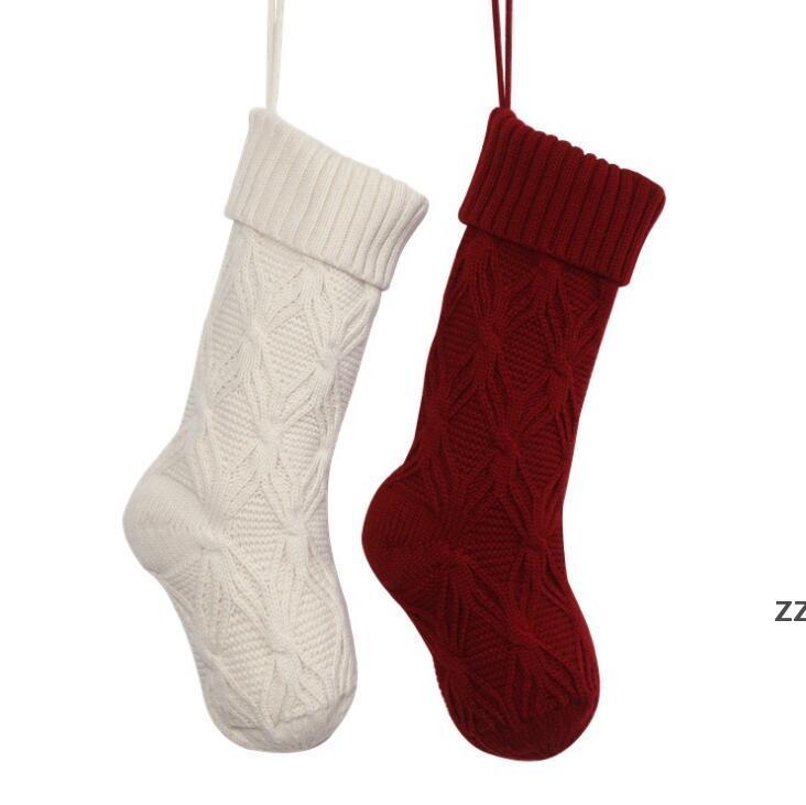 Medias de Navidad de punto Niños Candy Candy Bolsa de regalo Árbol Adornos Chimenea Decoración Calcetines Año Nuevo Regalos Titular de Navidad Decoración de Navidad para Home HWA8590